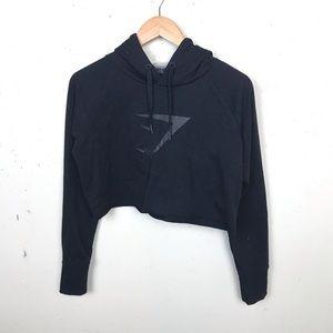 Gymshark Cropped Black Hoodie Logo Small